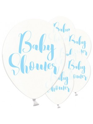 BALÃO LATEX TRANSPARENTE BABY SHOWER AZUL